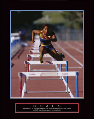 GOALS Woman Hurdler Track and Field Running Poster - Front Line Art ...