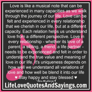 Love is like a musical note....