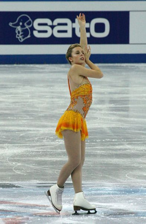 Ashley Wagner of the USA wearing footed matte tights.