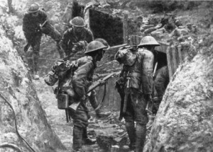 Australian troops enter German trench during WWI.