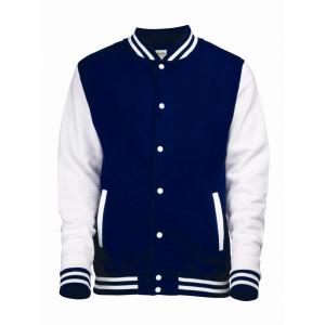 varsity jacket with genuine leather sleeves promotion