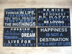 Details about SAYINGS DOOR MAT RUG BLACK BLUE CREAM FRONT BACK OUTSIDE ...