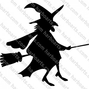 Vector Graphics Illustration Witch Flying Broomstick
