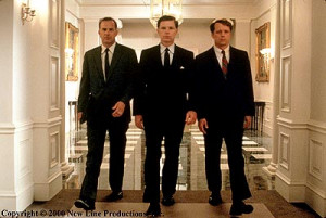 Kevin Costner (Kenny O'Donnell), Bruce Greenwood(John F. Kennedy) and ...