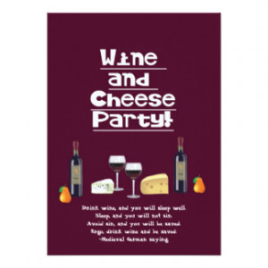 Wine and Cheese Party-Cheese, Wine Bottles, Fruit 5x7 Paper Invitation ...