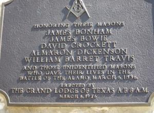 ... One name on each side Bowie, Crocket, Travis and James Butler Bonham