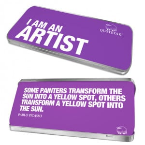 Am An Artist Quote Tin workspace, purple, desk accessories