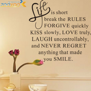 57*57CM Quotes 'Happy Life Rules' PVC Removable Wall Stickers / ZooYoo ...