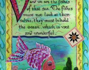Baha'i Quote Collage Fish Art P rint ...