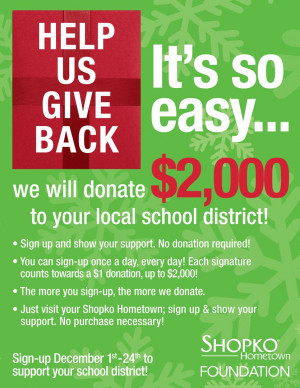 Shopko participating in 'Help Us Give Back' to local schools