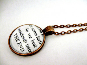 The Great Gatsby Quotes Book Page Necklace - Borne Back Ceaselessly ...
