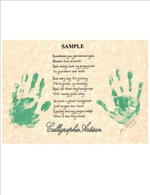 ... Handprint Poem' Keepsake Ready for Your Child's Handprints Grandparent