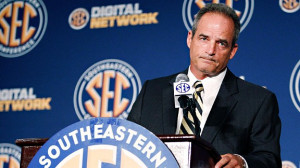 ... Pinkel handles questions in his first appearance at an SEC media day