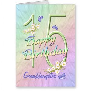 Granddaughter 15th Birthday Butterfly Garden Card