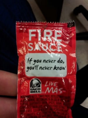 Taco Bell taco sauce; quotes