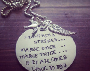 Hand Stamped Aluminum Necklace with Fleetwood Mac Stevie Nicks Quote.