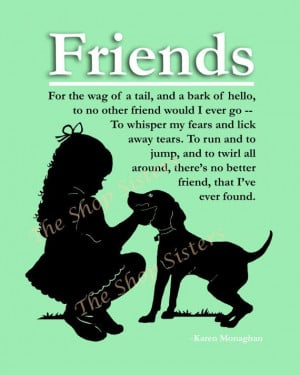 Girl and Dog Poem Silhouette Friends Green White 8 x 10 Print Wall Art ...
