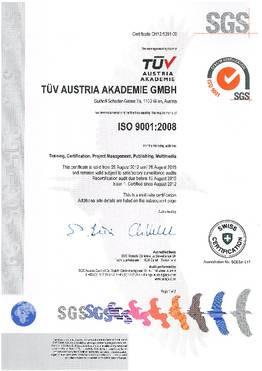 tuv austria iso 9001 2008 certified company