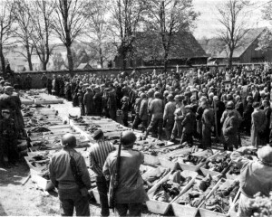 Mass funeral for those who died in the concentration camps