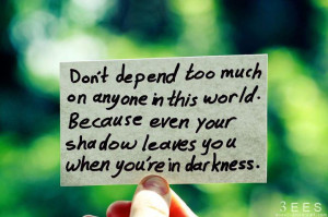 Don't depend too much on anyone in this world. | How to Quote