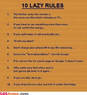 10 rules lazy – Funny Images