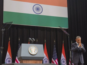 US President Barack Obama gestures after speaking on US - India ...