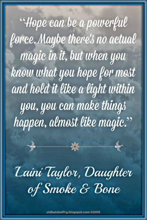 Laini Taylor Quote about hope on background design by @mulluane