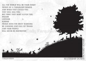 ... › Portfolio › Watership Down Black and White Illustrated Quote