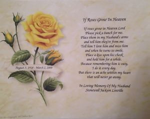 ... Husband-Personalized-If-Roses-Grow-In-Heaven-Memorial-Poem-Gift-Widow