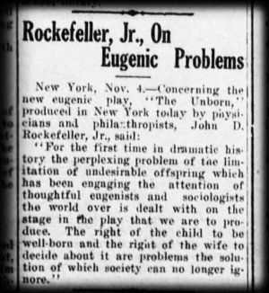 "The article, ""Rockefeller, Jr., On Eugenic Problems,"" is about a ..."