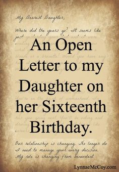 ... on Her Sixteenth Birthday - LynnaeMcCoy.com - Advice for Teens More