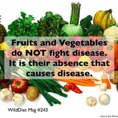 Fruits and Vegetables do NOT fight disease. It is their absence that ...