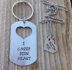 Custom military dog tag I carry your heart with me hand stamped dog ...