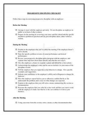 Progressive Discipline Checklist picture