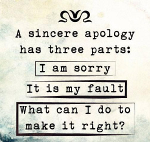 sincere Apology Has Three Parts
