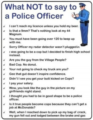 15 Things not to Say to a Police Officer