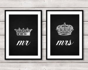 Set of Two 2 Mr and Mrs His Hers Ki ng Queen Crown A4 Prints Wall Art ...