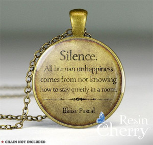Blaise Pascal quote pendant quote necklace Silence. by resincherry, $ ...