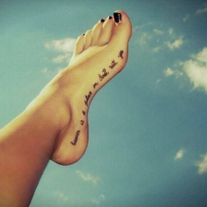 Cool Foot Tattoos : Great Quote Tattoo Design On Foot