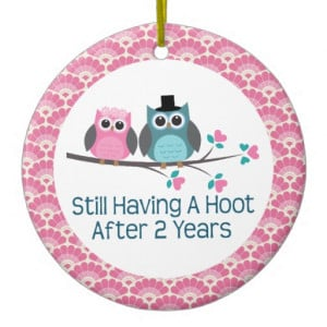 2nd Anniversary Owl Wedding Anniversaries Gift Christmas Tree Ornament