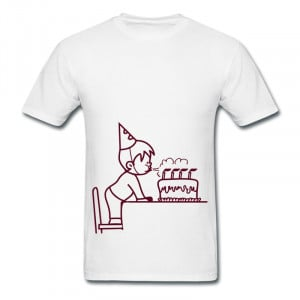 Birthday boy blowing out the candles on a cake Designed Love Quote Tee ...