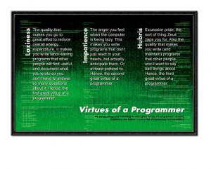 Computer Nerd Sayings Geek office poster, virtues of
