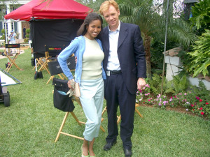 David Caruso as Lt. Horatio H. Caine and Enya Flack on CSI: Miami set