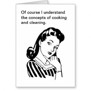 Funny Retro Mother's Day Card Cooking and Cleaning from Zazzle.com
