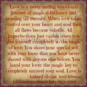 Love is a never-ending emotional journey..