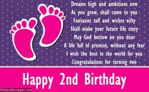 2nd Birthday Card Message For