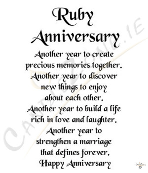 Ruby Anniversary 8x6 Verse Photo Frame