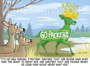 funny cartoon featuring a new Green Bay Packer deer survival ...