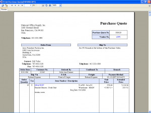 Purchase Order – Print Purchase Quote