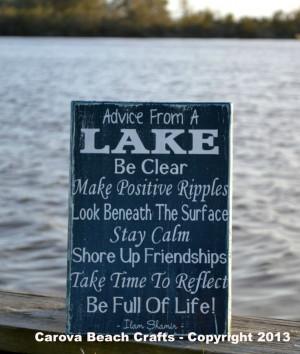 Lake House Decor - Lake Sign - Advice From A Lake - Wood Sign Wall ...